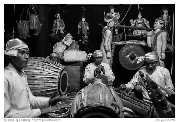Traditional Musicians during puppet show. Bagan, Myanmar (black and white)