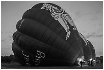 Hot air balloons being inflated. Bagan, Myanmar ( black and white)