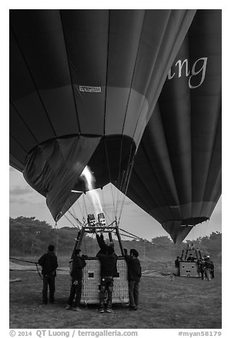 Hot air balloons before take off. Bagan, Myanmar (black and white)