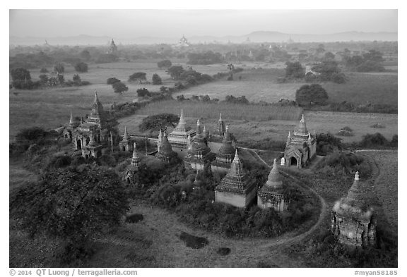 Aerial view of a complex of temples. Bagan, Myanmar (black and white)