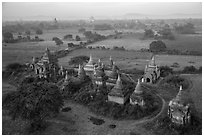 Aerial view of a complex of temples. Bagan, Myanmar ( black and white)