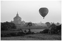 Hot air ballon and Thatbyinnyu temple. Bagan, Myanmar ( black and white)