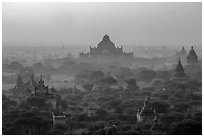 Aerial view of ancient temples in sunrise mist. Bagan, Myanmar ( black and white)