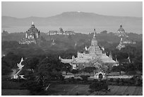 Aerial view of Ananda temple. Bagan, Myanmar ( black and white)