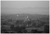 Aerial view of Bagan archeological site. Bagan, Myanmar ( black and white)