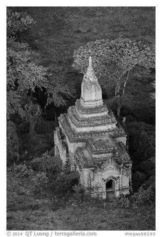 Aerial view of a small temple. Bagan, Myanmar (black and white)