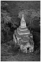 Aerial view of a small temple. Bagan, Myanmar ( black and white)