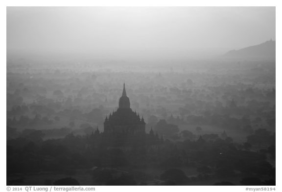 Aerial view of backlit temple in mist. Bagan, Myanmar (black and white)