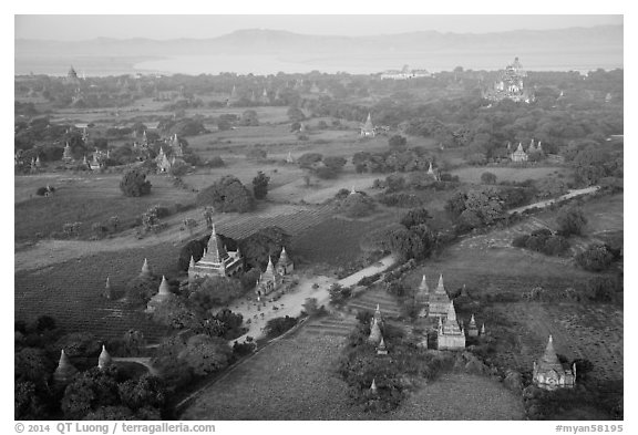 Aerial view of many temples set amongst fields. Bagan, Myanmar (black and white)