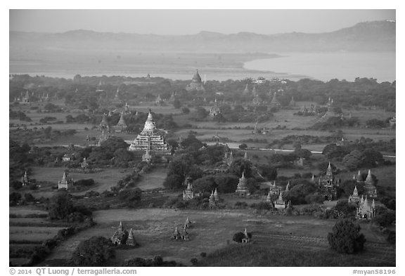 Aerial view of temples, cultivated lands, and Ayeyarwaddy River. Bagan, Myanmar (black and white)