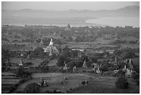 Aerial view of temples, cultivated lands, and Ayeyarwaddy River. Bagan, Myanmar ( black and white)