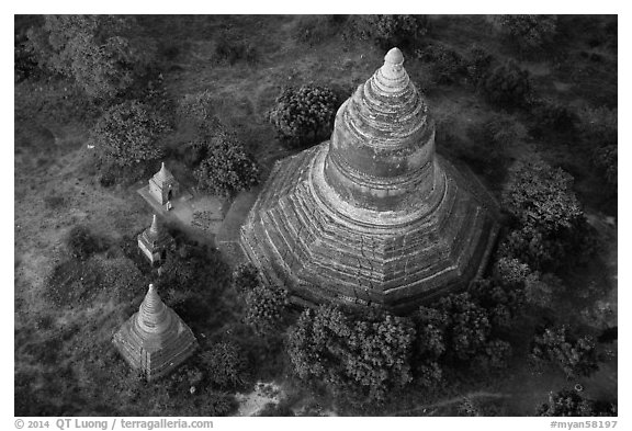 Aerial view of pagoda complex. Bagan, Myanmar (black and white)