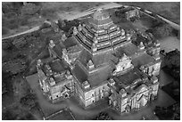 Aerial view of Dahmmayan Temple. Bagan, Myanmar ( black and white)