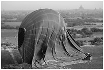 Aerial view of landed hot air balloon. Bagan, Myanmar ( black and white)