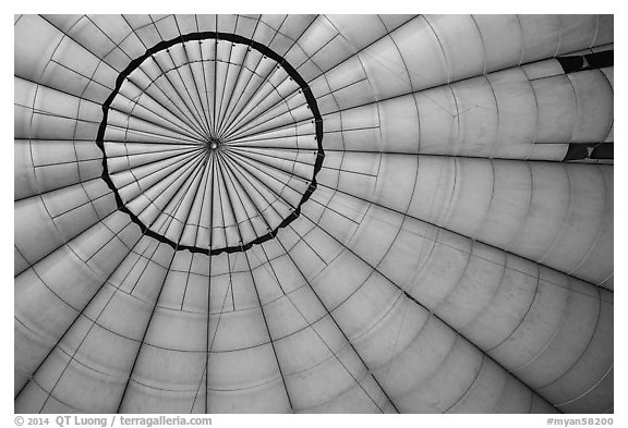 Looking up inside hot air balloon. Bagan, Myanmar (black and white)