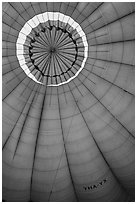 Top vent inside hot air balloon. Bagan, Myanmar ( black and white)