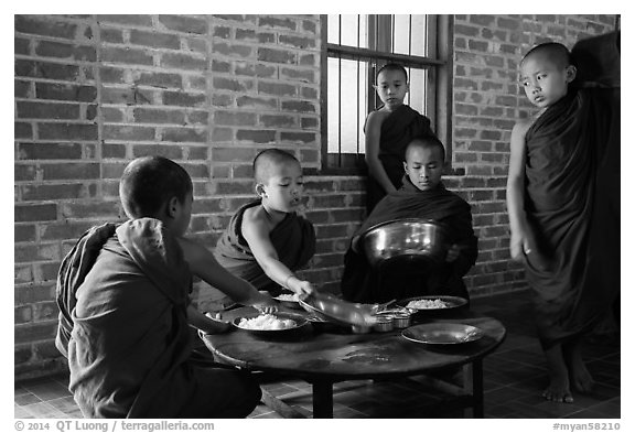 Buddhist novices preparing for lunch, Nyaung U. Bagan, Myanmar (black and white)