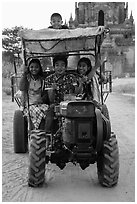 Children driving tractor, Minnanthu village. Bagan, Myanmar ( black and white)