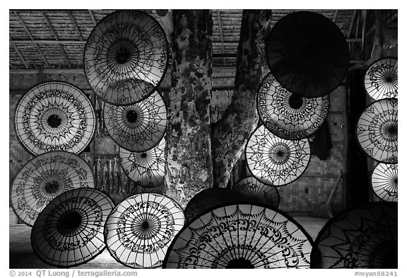 Umbrella store at night. Bagan, Myanmar (black and white)