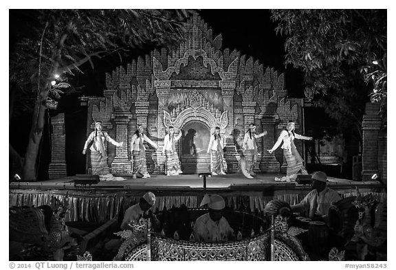 Traditional dance and musical performance. Bagan, Myanmar (black and white)