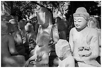 Buddha statues in various stages of completion on Marble street. Mandalay, Myanmar ( black and white)