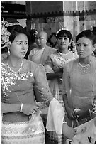 Women wearing their best dress for Shinbyu ceremony, Mahamuni Pagoda. Mandalay, Myanmar ( black and white)
