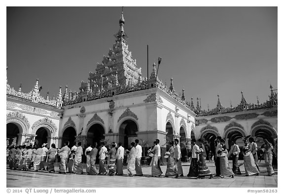 Shinbyu ceremony procession, Mahamuni Pagoda. Mandalay, Myanmar (black and white)