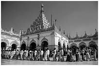 Shinbyu ceremony procession, Mahamuni Pagoda. Mandalay, Myanmar ( black and white)