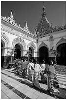 Novitiation ceremony procession, Mahamuni Pagoda. Mandalay, Myanmar ( black and white)