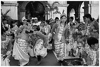 Young girls during novitiation, Mahamuni Pagoda. Mandalay, Myanmar ( black and white)