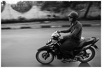 Motorcyle rider. Mandalay, Myanmar ( black and white)
