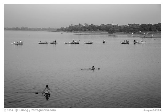 Rowboats on Taungthaman Lake. Amarapura, Myanmar (black and white)