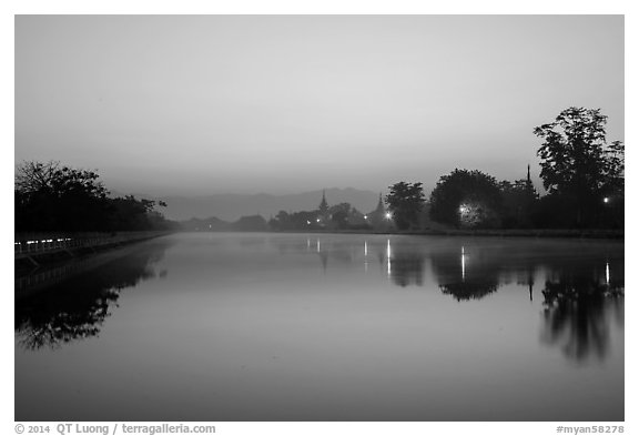 Moat and Mandalay Fort at dawn. Mandalay, Myanmar (black and white)