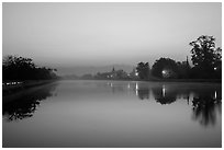 Moat and Mandalay Fort at dawn. Mandalay, Myanmar ( black and white)