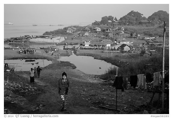 Huts on shore of Irrawaddy River. Mandalay, Myanmar (black and white)