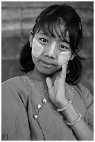 Girl in front of Mingun bell, Mingun. Myanmar ( black and white)