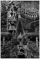 Intricate teak carving, Shwe In Bin Kyaung pagoda. Mandalay, Myanmar ( black and white)