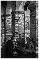 Monks in Sutaungpyei Pagoda. Mandalay, Myanmar ( black and white)