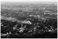 View from Mandalay Hill at sunset. Mandalay, Myanmar ( black and white)