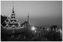 Sutaungpyei Pagoda on top of Mandalay Hill at dawn. Mandalay, Myanmar ( black and white)
