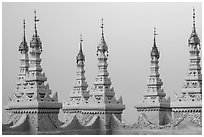 Spires, Sutaungpyei Pagoda. Mandalay, Myanmar ( black and white)