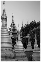 Stupas and spires at dawn, Sutaungpyei Pagoda. Mandalay, Myanmar ( black and white)