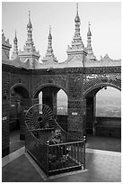 Ogre King and view from  Mandalay Hill. Mandalay, Myanmar ( black and white)