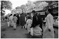Alms procession. Mandalay, Myanmar ( black and white)