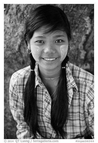 Young woman with sweet smile, Ava. Myanmar (black and white)