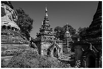 Daw Gyan Pagoda complex, Ava. Myanmar ( black and white)