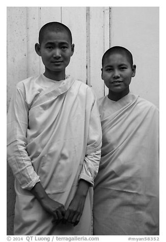 Two nuns, Zayar Theingi Nunnery, Sagaing. Myanmar (black and white)
