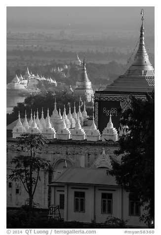 Pagodas on Sagaing Hill. Myanmar (black and white)
