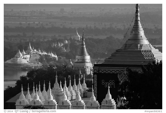 Stupas and Ayeyarwady river seen from Sagaing Hill. Myanmar (black and white)