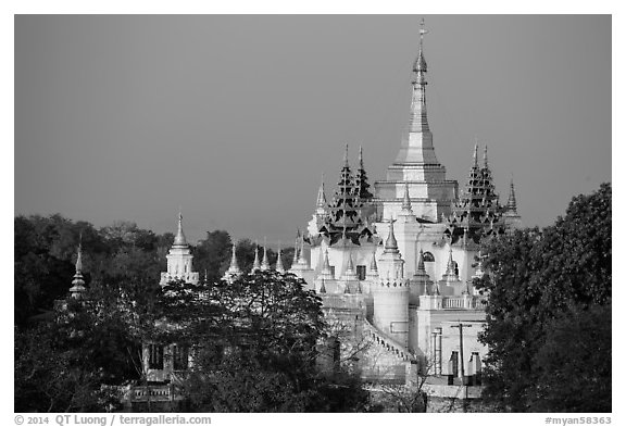 Pagoda on Sagaing Hill. Myanmar (black and white)